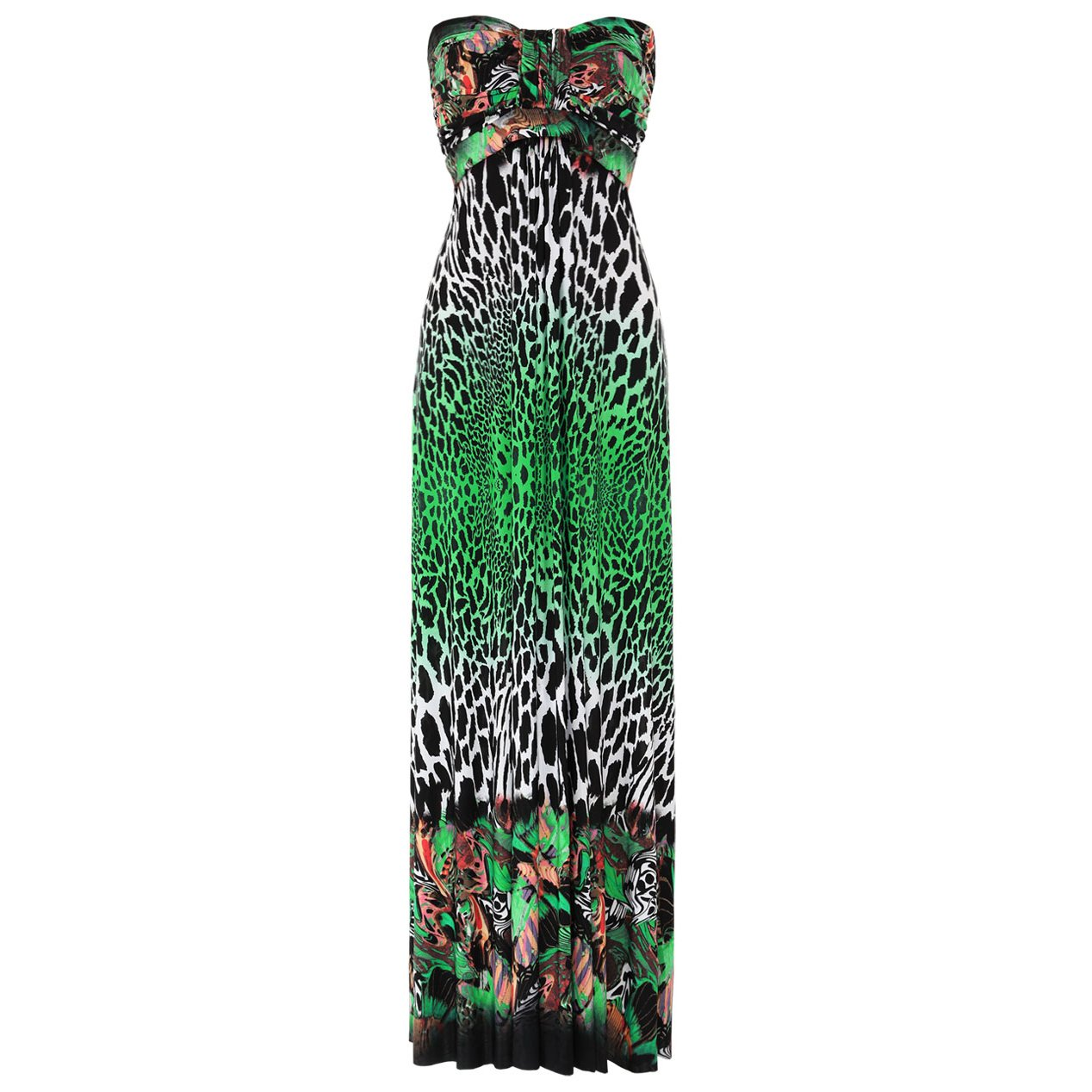 WOMENS GREEN LEOPARD ANIMAL PRINT LONG SUMMER EVENING HOLIDAY BEACH MAXI DRESS UK 8-10, US 4-6