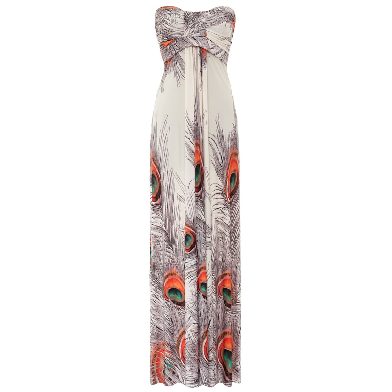 WOMENS WHITE ORANGE PEACOCK PRINT LONG SUMMER EVENING HOLIDAY BEACH MAXI DRESS UK 8-10, US 4-6
