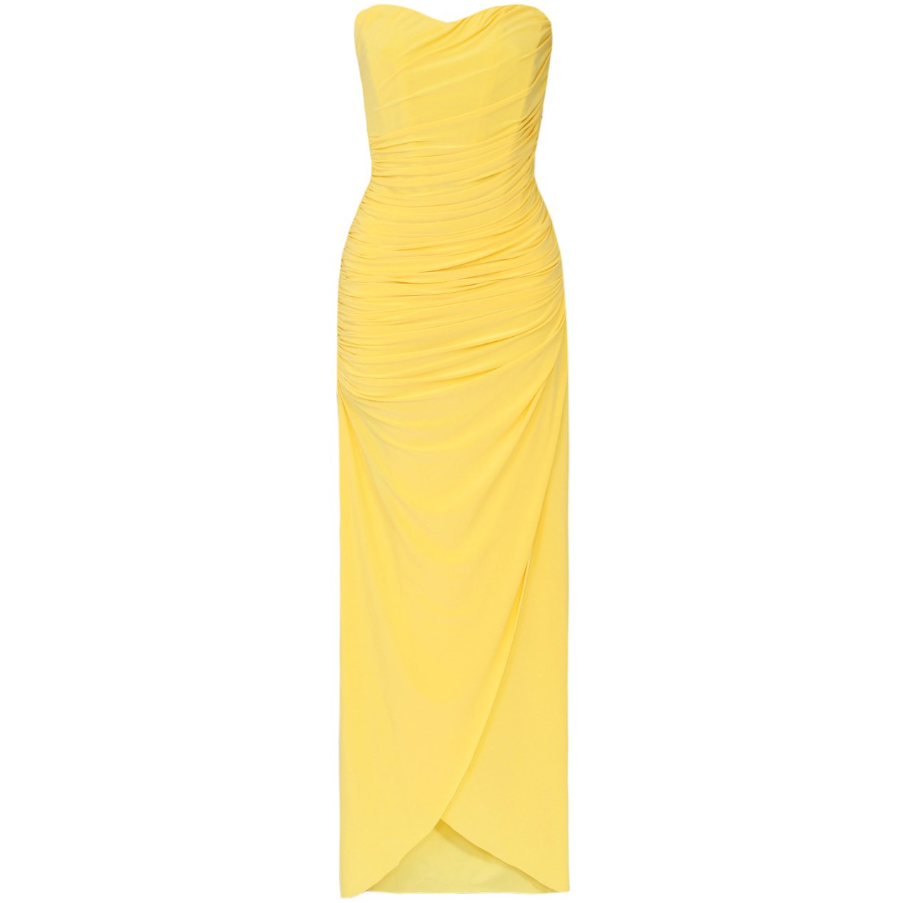 WOMENS LADIES YELLOW STRAPLESS LONG SUMMER EVENING CORSET PARTY PROM GOWN MAXI DRESS UK 12, US 8