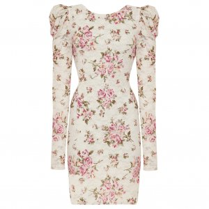 WOMENS CREAM VINTAGE FLORAL PRINT EVENING COCKTAIL BODYCON MINI PARTY PROM DRESS UK 8-10, US 4-6