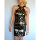 LEOPARD ANIMAL PRINT EVENING MINI BODYCON BODY CON CLUBWEAR PARTY DRESS UK 8, 10, 12, US 4, 6, 8