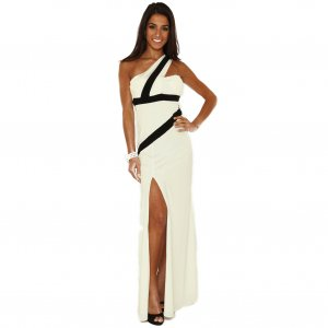WOMENS LADIES WHITE BLACK ASYMETRIC LONG EVENING PARTY PROM MAXI GOWN DRESS UK 12-14, US 8-10