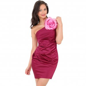 WOMENS LADIES PINK ONE SHOULDER CORSAGE EVENING COCKTAIL BODYCON MINI PROM PARTY DRESS UK 12, US 8