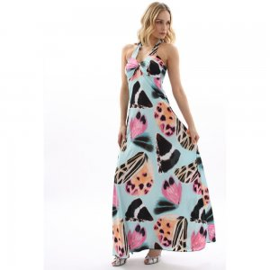 WOMENS LADIES BLUE BUTTERFLY PRINT HALTERNECK SUMMER HOLIDAY MAXI BEACH DRESS UK 8-10, US 4-6