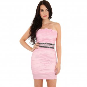PINK JEWEL STRAPLESS PLEATED SATIN TAFFETA BODYCON EVENING PARTY PROM MINI COCKTAIL DRESS UK 8, US 4