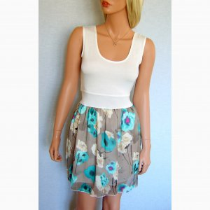 WHITE TURQUOISE GREEN BEIGE CREAM SUMMER FLORAL SKIRT MINI VEST TOP 2 IN 1 DRESS UK 10, US SIZE 6