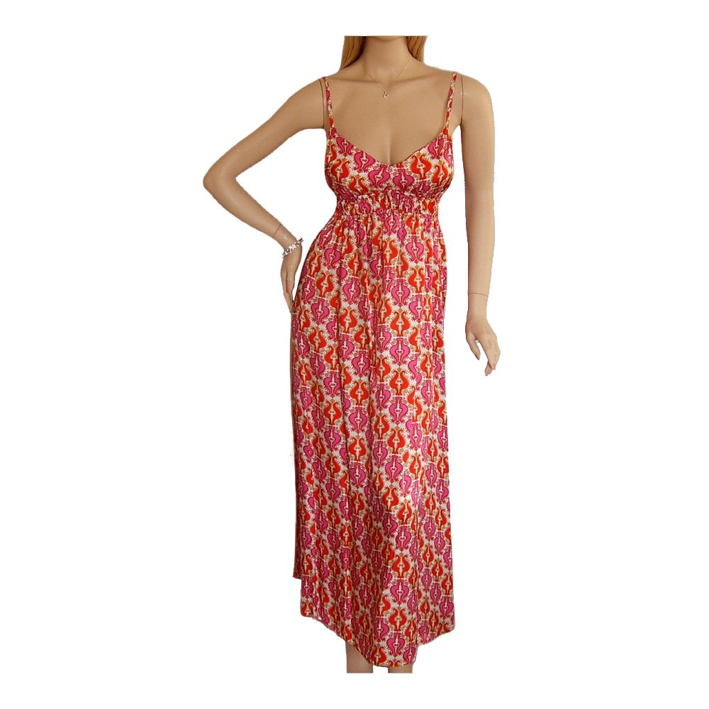 PINK RED & WHITE MAXI BEACH SUMMER HOLIDAY DRESS UK SIZE ...
