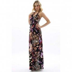 WOMENS LADIES SNAKE PRINT HALTERNECK SUMMER EVENING HOLIDAY MAXI BEACH DRESS UK 8-10, US 4-6