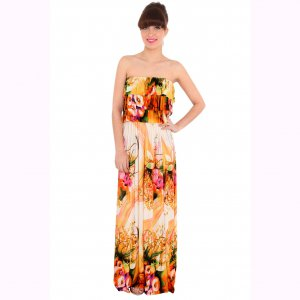 WOMENS TROPICAL PEACH FLORAL RUFFLE GRECIAN LONG SUMMER PARTY HOLIDAY MAXI DRESS UK 12-14, US 8-10