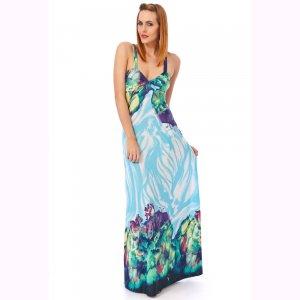 KDK LONDON WOMENS AQUA BLUE HALTERNECK LONG SUMMER EVENING CASUAL DAY MAXI DRESS UK 8-10, US 4-6