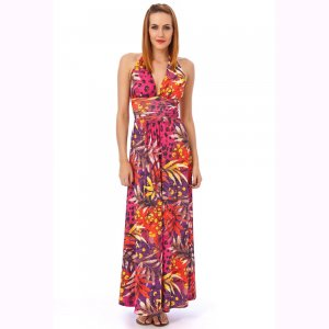 WOMENS LADIES PINK RED TROPICAL GRECIAN LONG SUMMER EVENING PARTY BEACH MAXI DRESS UK 10-12, US 6-8