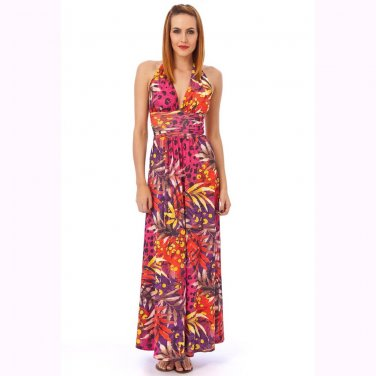 WOMENS LADIES PINK RED TROPICAL GRECIAN LONG SUMMER EVENING PARTY BEACH MAXI DRESS UK 12-14, US 8-10