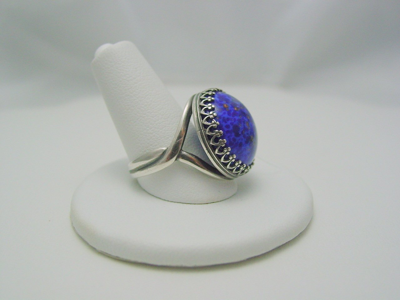 Lapis Blue Glass Cabochon Crown Style Antique Silver Ring