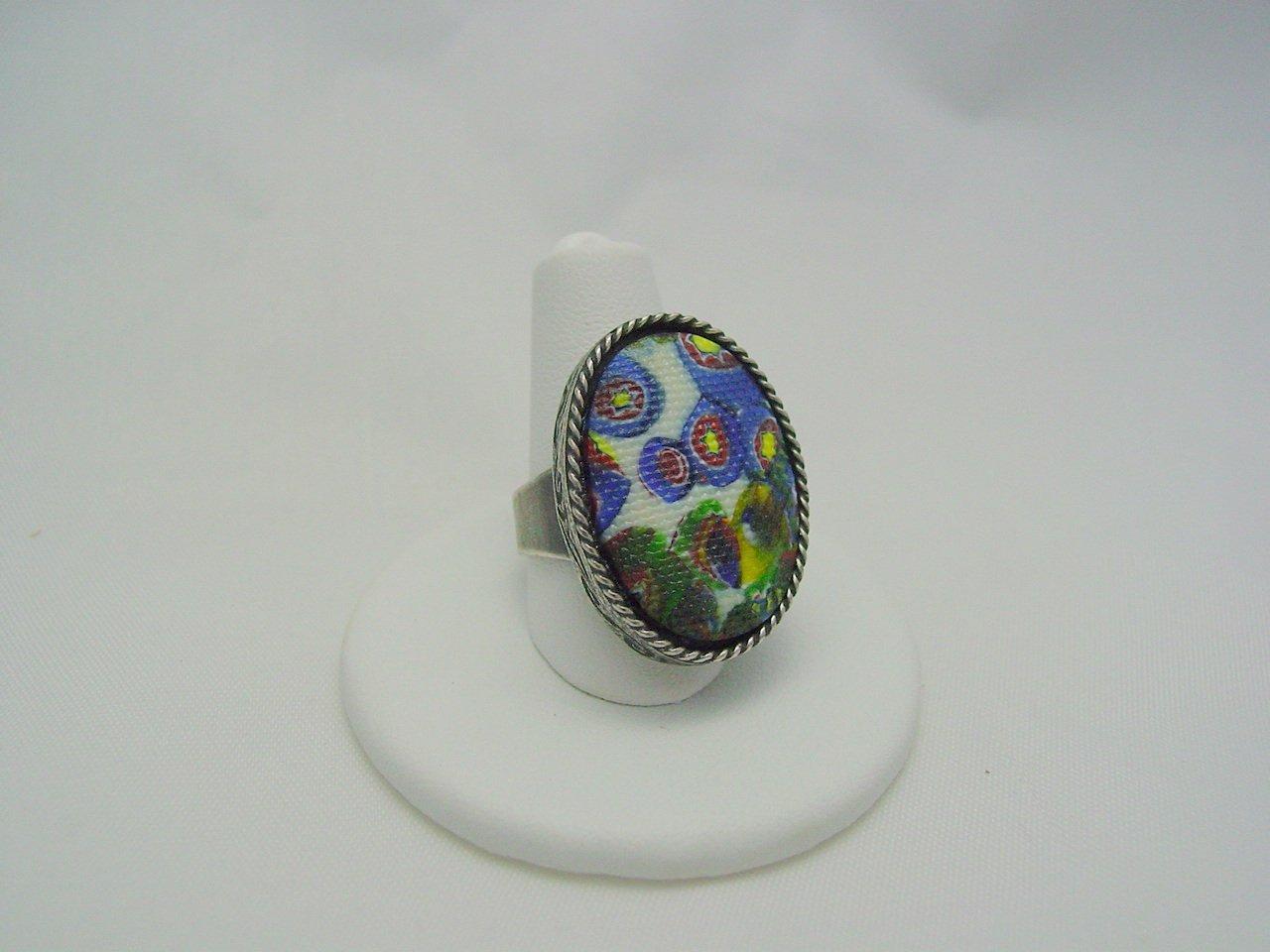 Venetian Millefiori Design Czech Glass Cabochon Antique Silver Ring