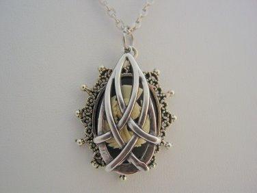 Outlander Celtic Teardrop Hidden Scottish Thistle Antique Silver Necklace