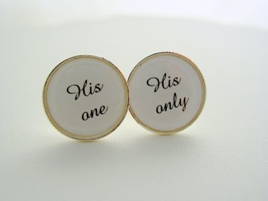Wedding Anniversary Gift Groom From Groom His One His Only Cuff Links Cufflinks Platinum Finish