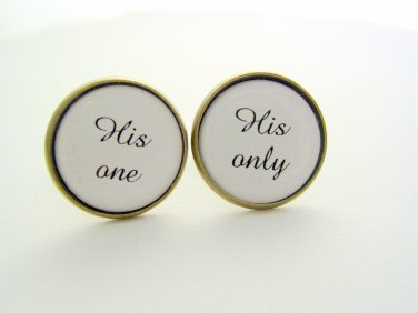 Wedding Anniversary Gift His One His Only Cuff Links Cufflinks Antique Brass