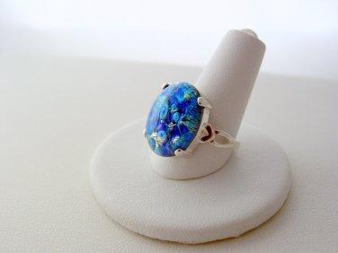 Fire Opal Sea Blue Sterling Silver 925 Artisan Bezel Fire Opal Ring Size 6