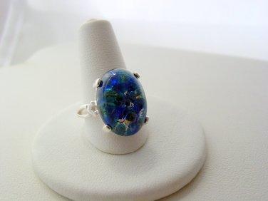 Fire Opal Sea Blue Sterling Silver 925 Artisan Bezel Fire Opal Ring Size 8