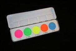 Kryolan UV Dayglo Neon Pressed Powder Pallette - Dayglow Makeup - Rave - Cosplay