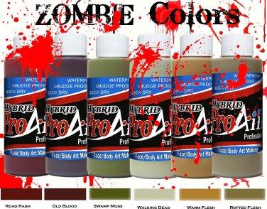 ProAiir Hybrid Airbrush Face Body Paint Makeup 2 oz Zombie Set 1