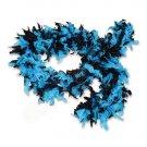 60 gram gm Aqua Blue & Black Tipped Chandelle Feather Boa Halloween Costume Mardi gras