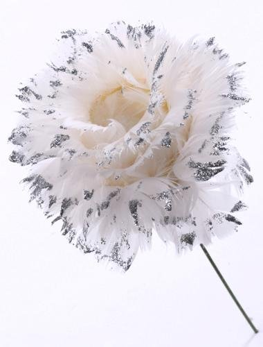 12 White Feather Silver Glitter Rose Floral Picks Pick Lot
