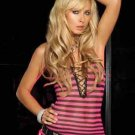 Black Hot Pink Fishnet Lace Up Punk Rock Top Shirt Tank o/s