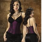 Small-Sexy Black Plaid Top Corset Lace Up Back Tank Shirt Tesa by Escante