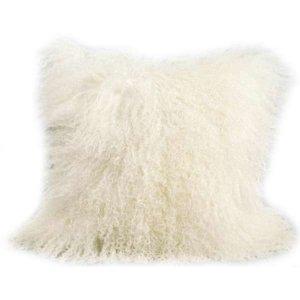 20 x 20 Natural White Mongolian Fur Sheep Shaggy Pillow