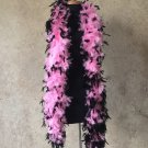 120gm gram  Black Tipped Pink Chandelle Feather Boa Halloween Costume Mardi gras