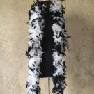 120gm gram  Black Tipped White Chandelle Feather Boa Halloween Costume Mardi gras