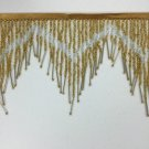 "By Yard-6.5"" Chevron Gold/Silver Glass Seed Bugle Bead Beaded Fringe Lamps Costumes Crafts"