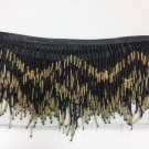 "5 Yard Bolt-6"" Black & Gold Glass Seed Bead & Bugle Chevron Beaded Fringe Lamp Home Decor Trim"