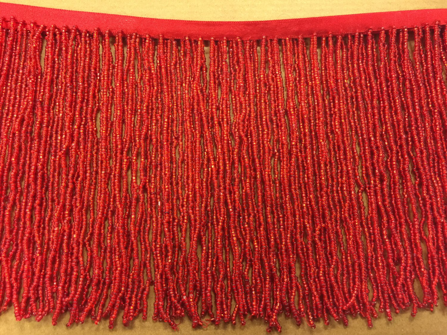"""6.5"""" Red Glass SEED Bead Beaded Fringe Lamps, Costumes, Crafts"""