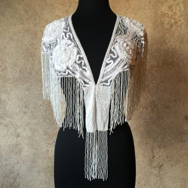 WHITE Sequin and Beaded Fringe Shawl Bridal Wrap Shoulder Shrug