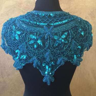Turquoise Sequin and Beaded Shawl Bridal Wrap Shoulder Shrug