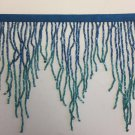 "By Yd-6.5"" Chevron Royal Blue/Teal Ombré Glass BUGLE Bead Beaded Fringe Lamps Costumes Crafts"