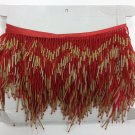 "5 Yard BOLT-6.5"" Chevron Red & Gold Glass Seed & Bugle Bead Beaded Fringe Lamps, Costumes, Crafts"