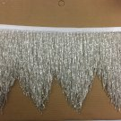 "5 Yd Bolt-6.5"" CHEVRON Silver Glass BUGLE Beaded Fringe Lamps, Costumes, Crafts"