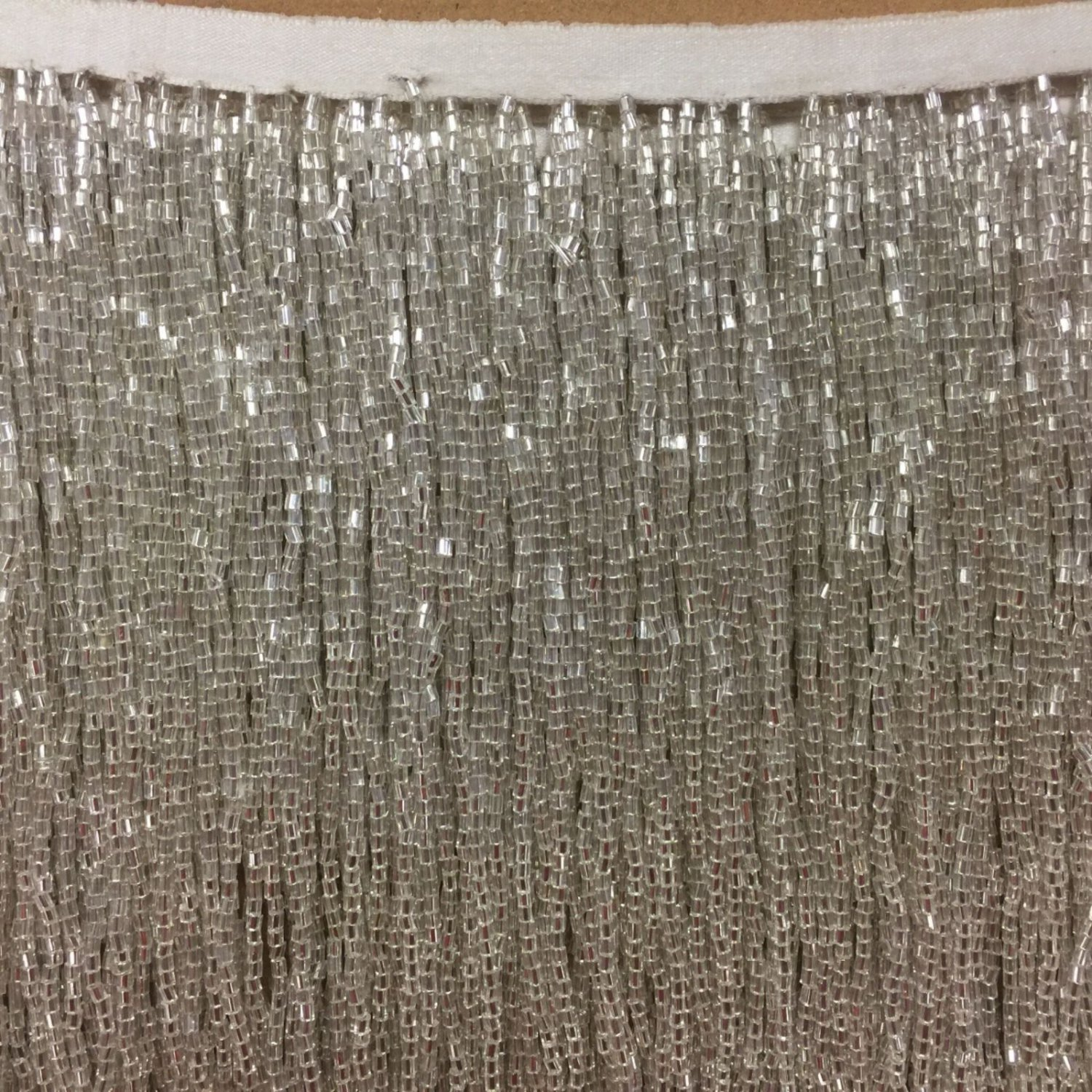 "By the Yard-6.5"" SILVER Glass BUGLE Bead Beaded Fringe Lamps, Costumes, Crafts"