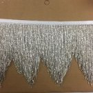 "5yd Bolt 6"" SILVER Glass BUGLE SEED Beaded Fringe CHEVRON Lamp Costume Trim"