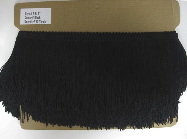 "6"" Black DOUBLE STRAND Chainette Fabric Fringe Lamp Costume Trim by the yard"