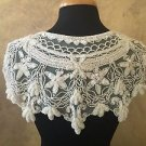 Sequin Beaded Lace Hip Wrap or Collar Shoulder Shrug Shawl Applique White