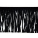 "By Yard-6"" Black Faux Suede Leather Fabric Fringe Lampshade Lamp Costume Trim"