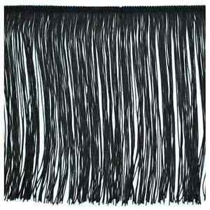 """12"""" Black Polyester Chainette Fabric Fringe Lampshade Lamp Costume Trim by the Yard"""