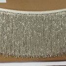 "5 Yd Bolt-6"" Glass SILVER/BUGLE Seed Beaded Fringe Lamp Costume Trim"