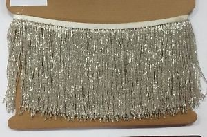 "5 Yd Bolt-6"" Glass SILVER/BUGLE Seed Beaded Fringe Lamp Costume Trim"