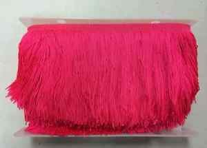 "20 yd Bolt 6"" NEON HOT PINK Chainette Fabric Fringe Lampshade Lamp Costume Trim"