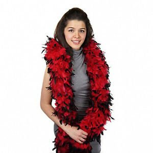 NWT Thick 120g Chandelle Feather Boa Red/Black 6ft Flapper Burlesque Costume
